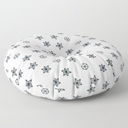 black and white Scandinavian Christmas Prints patterns Floor Pillow