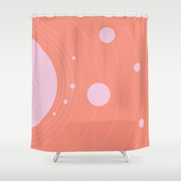 Orbit, pink Shower Curtain