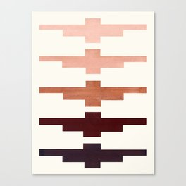 Mid Century Minimalist Ancient Aztec Inca Geometric Pattern Watercolor Raw Umber Colorful Gouache Pa Canvas Print