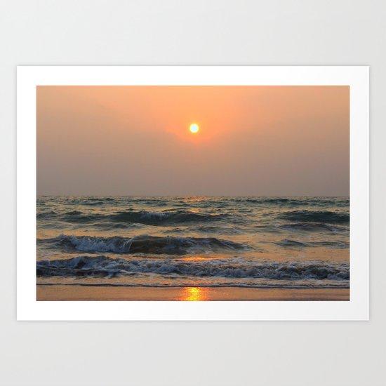Sunset over the sea. Art Print