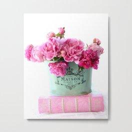 Peonies Pink Aqua French Maison Parisian Decor  Metal Print