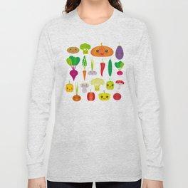 Kawaii vegetables peppers, pumpkin beets carrots, eggplant, red hot peppers, cauliflower, broccoli Long Sleeve T-shirt