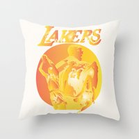 lakers Throw Pillows featuring Lakers by Istvan Antal