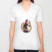 batgirl V-neck T-shirts featuring Batgirl by kcspaghetti