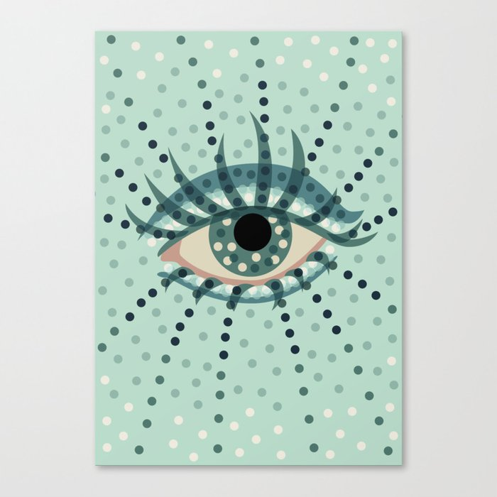 Dots And Abstract Eye Canvas Print