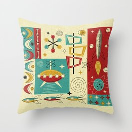Retro Space Age Fun! ©studioxtine Throw Pillow
