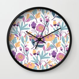 Colorful Exotic Floral pattern Wall Clock