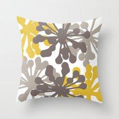 Modern Botanical Print Yellow Brown Throw Pillow