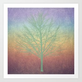 Green grunge tree Art Print