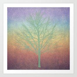 Green grunge tree Art Print