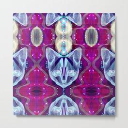 Pixel Galacticat Pink/Blue Metal Print