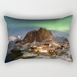 Northern Lights Over Hamnøy Rectangular Pillow
