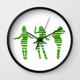 Spring is coming: Green dancing party girls Wall Clock
