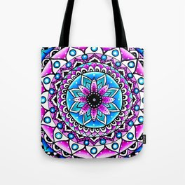 Mandala #2 Wall Tapestry Throw Pillow Duvet Cover Bright Vivid Blue Turquoise Pink Contempora Modern Tote Bag
