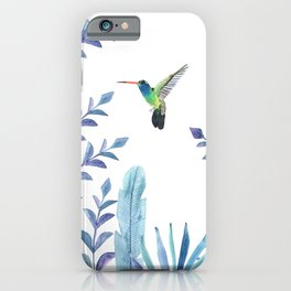 Hummingbird with tropical foliage iPhone Case