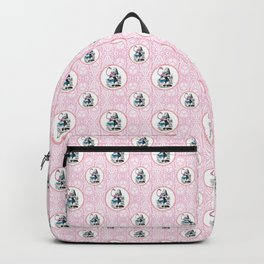 Alice in Wonderland | Alice Playing Croquet with a Flamingo and Hedgehogs | Pink Damask Pattern | Backpack