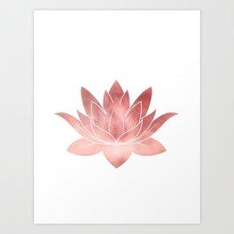 Pink Lotus Flower | Watercolor Texture Art Print