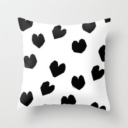 Love Yourself no.2 - black heart pattern love minimal black and white illustration Throw Pillow