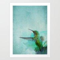 hummingbird Art Prints featuring Hummingbird by Marvelis