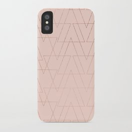 modern rose gold geometric thin triangles blush pink abstract pattern iPhone Case