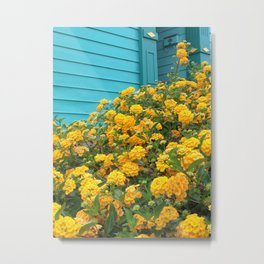Little Teal House with Yellow Flowers Metal Print
