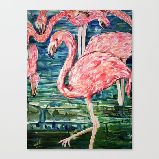 Flamingo Party Pink and Tropical Canvas Print