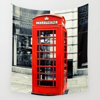 telephone Wall Tapestries featuring British Telephone Booth by JMcCool