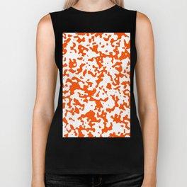 Spots - White and Dark Orange Biker Tank