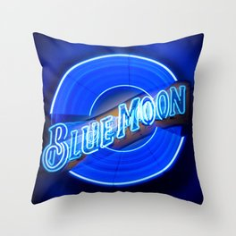 Blue Moon zoom burst neon sign Throw Pillow