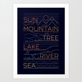 Sun, Mountain, Tree Art Print