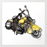 motorcycle Art Prints featuring motorcycle by MuDesignbyMugeBaris