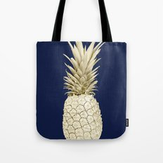Pineapple Pineapple Gold on Navy Blue Tote Bag