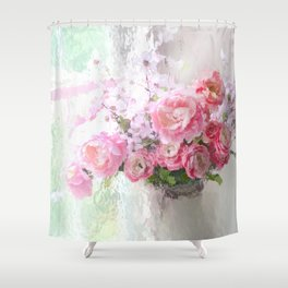 Peonies Impressionistic Shower Curtain