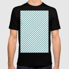 Diagonal Lines (Teal/White) Black Mens Fitted Tee MEDIUM