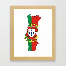 Portugal Map with Portuguese Flag Framed Art Print