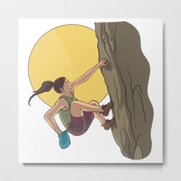 Free climbing in the rocks with lime bag Metal Print