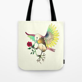 Flying with roses Tote Bag