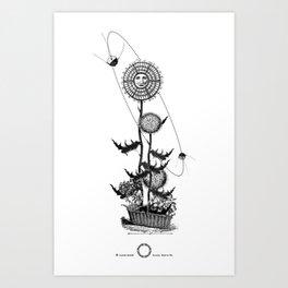 Abstract Techie Art, Thistle flower, Space Rocket, Soviet Sputnik, Vintage robot illustration Art Print