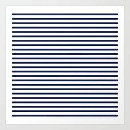 Navy Blue Breton Nautical Stripes Lines Minimal Stripe Line Art Print