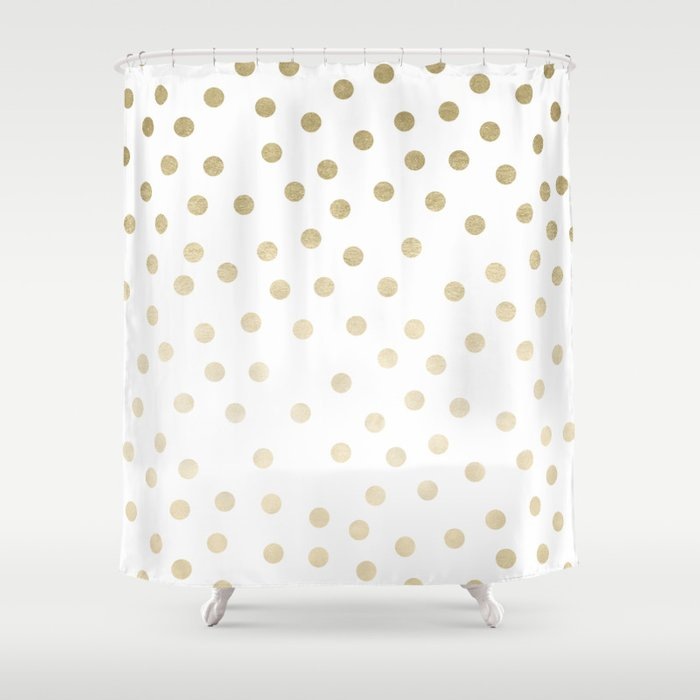 Stylish Gold Polka Dots Shower Curtain By Naturemagick