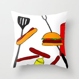 Burgers and Dogs Throw Pillow