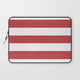 Watermelon red - solid color - white stripes pattern Laptop Sleeve