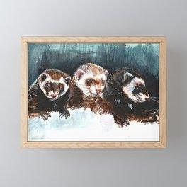 Three Sleepy Ferrets Framed Mini Art Print