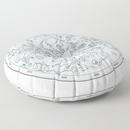Constellations of the Northern sky - ligth blue Floor Pillow