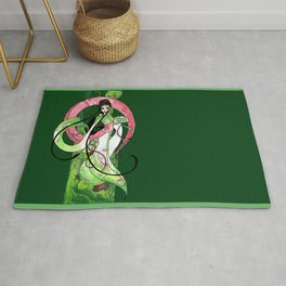 Geisha in Green with Koi and lotus Flowers Rug