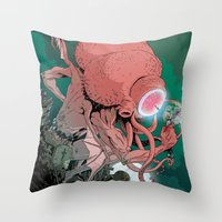 cthulhu Throw Pillows featuring cthulhu by Nahum Ziersch
