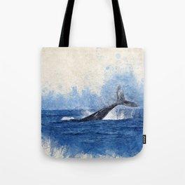 Watercolor whale nautical beach house print Tote Bag