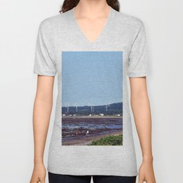 Beach and Wind Turbines Unisex V-Neck