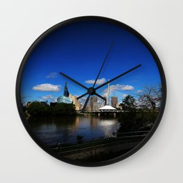 Downtown Winnipeg 3 Picture Panorama Wall Clock