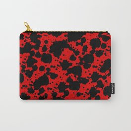 Bright Red and Black Funny Leopard Style Paint Splash Pattern Carry-All Pouch